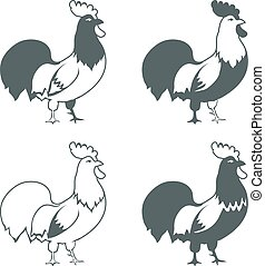 Chicken design elements isolated on white background vector