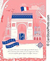 lovely Triumphal arch - lovely France travel poster with...
