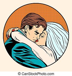 Kissing bride and groom wedding pop art retro style Postcard...