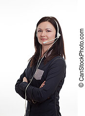 woman at call-center - Customer Service Operator, over a...