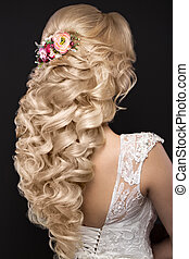 beautiful blond girl in image of the bride with purple...