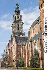 Martini church and tower in the center of Groningen,...