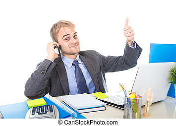 young happy businessman smiling confident talking on mobile...