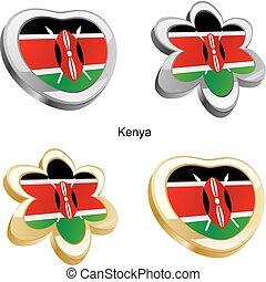 kenya flag in heart and flower