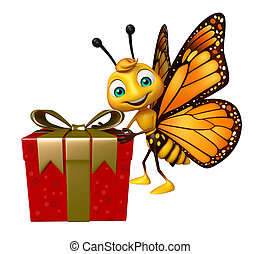 fun Butterfly cartoon character with giftbox - 3d rendered...