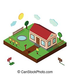 Isometric house.3D Village landscape,yard - Isometric...