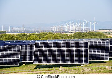 Renewable energy - Windmills and photovoltaic panels for...