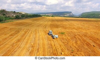 Farm Tractor With Trailer Moving Along Wheat Field - AERIAL...