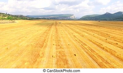 Harvested Field With Golden Hay Bales - AERIAL VIEW Pan shot...