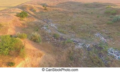 Illegal Garbage Site In The Field - AERIAL VIEW. This is a...