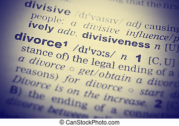 Dictionary definition of the word Divorce. Toned  Image