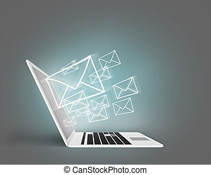 Email concept with laptop on the gray backround