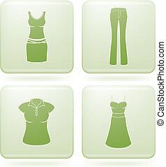 Olivine Square 2D Icons Set: Woman\'s Clothing - Woman\'s...