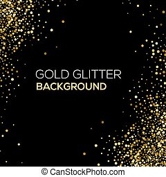 Gold confetti glitter on black background. Abstract gold...