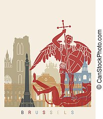 Brussels skyline poster in editable vector file