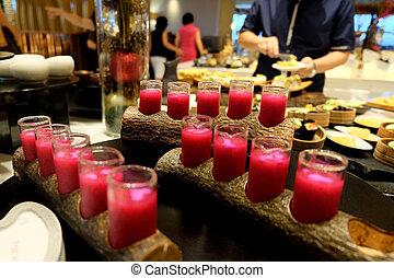 Beet juice - assorted beet juice in buffet restaurant