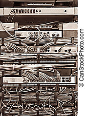 Server rack - Patch Panel server rack with cords in...