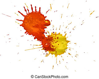 splashes of colorful watercolor on a white background