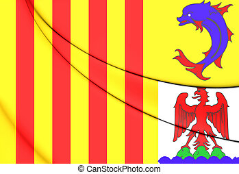 Flag of Provence-Alpes-Cote d'Azur, France. - 3D Flag of...