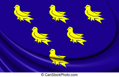 Flag of Sussex - 3D Flag of the Sussex. Close Up.