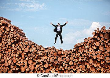 joy of life - man jumping to the sky