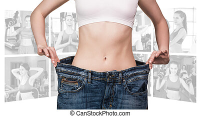 Fitness concept of perfect body - Woman foreground and...