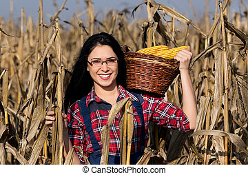 Woman in corn field - Young happy girl with basket full of...