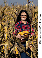 Woman in corn field - Young happy girl with basket picking...
