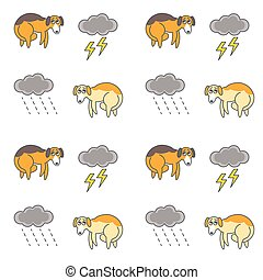 Homeless dogs outside in bad weather seamless pattern - Poor...
