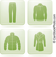 Olivine Square 2D Icons Set: Mans Clothing - Mans Clothing...