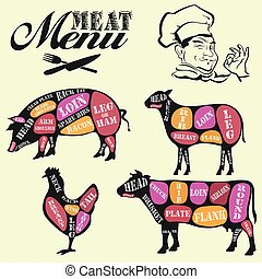 Set of butcher shop labels and design elements - Meat menu....