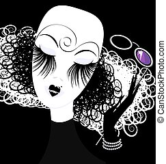 lady with eyeglasses - abstract black white womans head with...