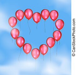 sky and balloons heart - blue sky, clouds and flying red...
