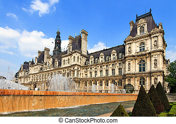 Hotel de Ville fountain - Hotel de Ville on a spring day in...