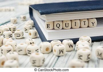 Abc, palabra, de madera, escrito, madera, equidad, bloque
