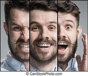 Set of young man's portraits with different emotions on gray...