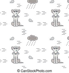 Poor homeless dogs outside in bad weather seamless pattern....