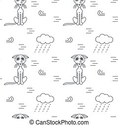 Poor homeless cats outside in bad weather seamless pattern....