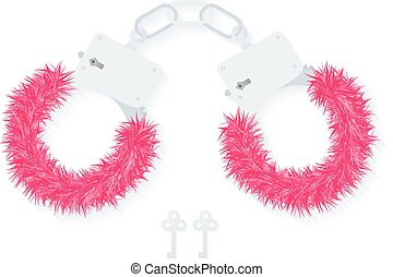 BDSM fluffy handcuffs, bondage element to immobilize...
