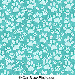 Teal Doggy Paw Print Tile Pattern Repeat Background that is...