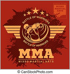 Boxing and martial arts logo, badge or label in vintage...