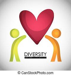 Diversidade, ícone, desenho,