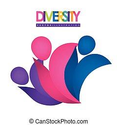 Diversidade, desenho, ícone