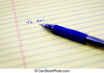 To Do List Written on Paper with Blue Pen Organizing and Planning