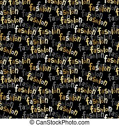 Vector seamless pattern with hand written gold text.