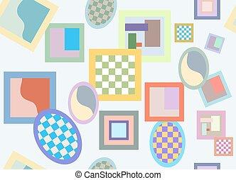 Seamless pattern of randomly scattered varicolored frames -...