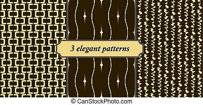3 elegant seamless patterns