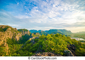 Majestic sunset in the mountains landscape. Thailand