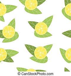 Seamless vector lemon pattern on white background