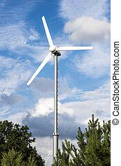 Wind turbine - Clean energy white wind turbine in green...